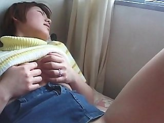 Sex starved jap school babe fucked with fingers in her cunt
